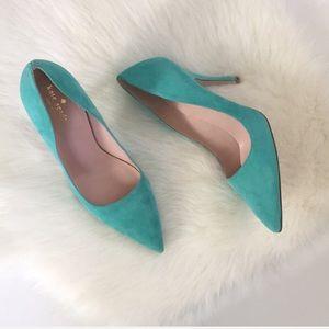 NWOT {  Kate Spade } blue suede pump heel